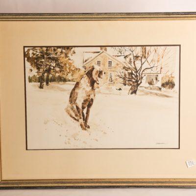 101   G. Balbar - watercolour.  Dog   deep in thought.  Framed.