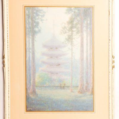 116   V.Ito - watercolour.  Japanese   pagoda scene.