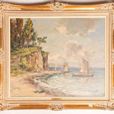 118   E. Dirksen - oil painting.   Ships in bay.  Framed.  Mid  20th century