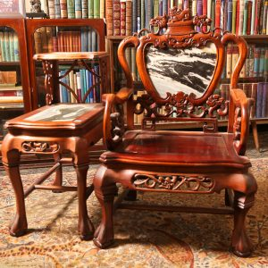 25B. Chinese rosewood armchairs. Set of two. Hand carved in dragon motif and with marble inserts. Mid 20th century. AND 25D. Chinese rosewood pair of lamp tables. Hand carved in dragon motif and with marble inserts. Mid 20th century.