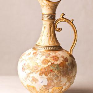"11.  Porcelain Ewer. Royal Doulton Burslem. Floral motif. Marked ""French Porcelain"". 13"" H. Late 19th century."