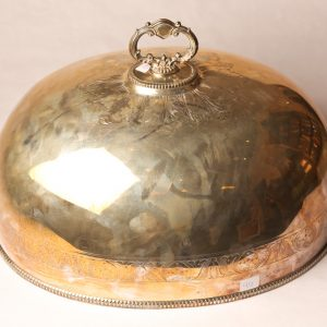 40.  Roast bell. Silver plated with art nouveau style pattern. Late 19th century.