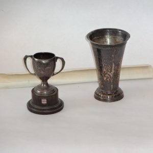 46.  Sterling silver cup, and 1939 Monte Carlo Rally trophy - with results scroll.