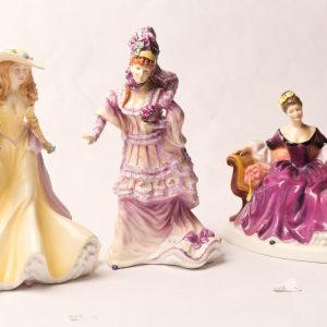 48. Three Royal Doulton figurine prototypes. Diana; Lady in Yellow Picking Flowers; Lady in Purple on Sofa (some restored damage).