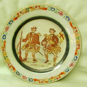 "28. Chinese export porcelain plate. Depicting two Scottish soldiers; chip & hairline to edge.  Late 18th century. 9"" d."