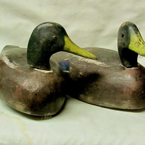 16. Pair of duck decoys. Hand-carved solid wood mallards, by Peterboro Canoe Company (Ontario) used in hunting.  Midcentury.