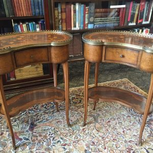 78. Pair of Italian side tables.  Brass rails and moldings and inlaid tops, one drawer and lower shelf. Mid 20th century.