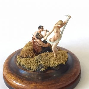 "32. Peter Karel miniature sculpture. ""Maiden & Satyrs"". 1989. With plexiglass box and brass label."