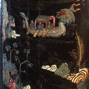 15. Chinese screen. Four panels, with black lacquer back and multi-coloured soapstone in court motif.  Mid 20th century.